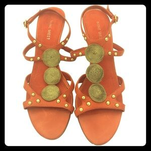 Nine West Orange Sandals With Gold Accents